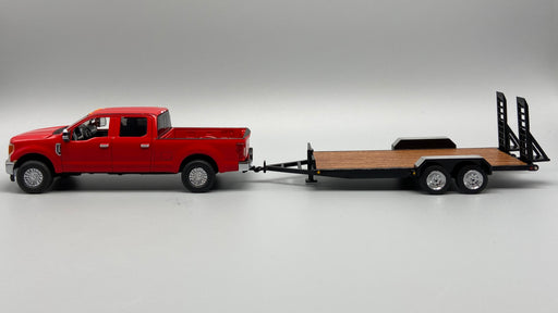 First Gear Ford F250 w/ Tag Trailer - Red/Black