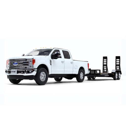 First Gear Ford F250 Super Duty Pickup w/ Tag Trailer - Oxford White/Black