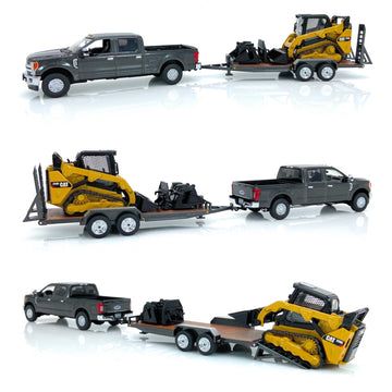 Ford F250 w/ Tag Trailer and Cat 259D - Magnetic Gray