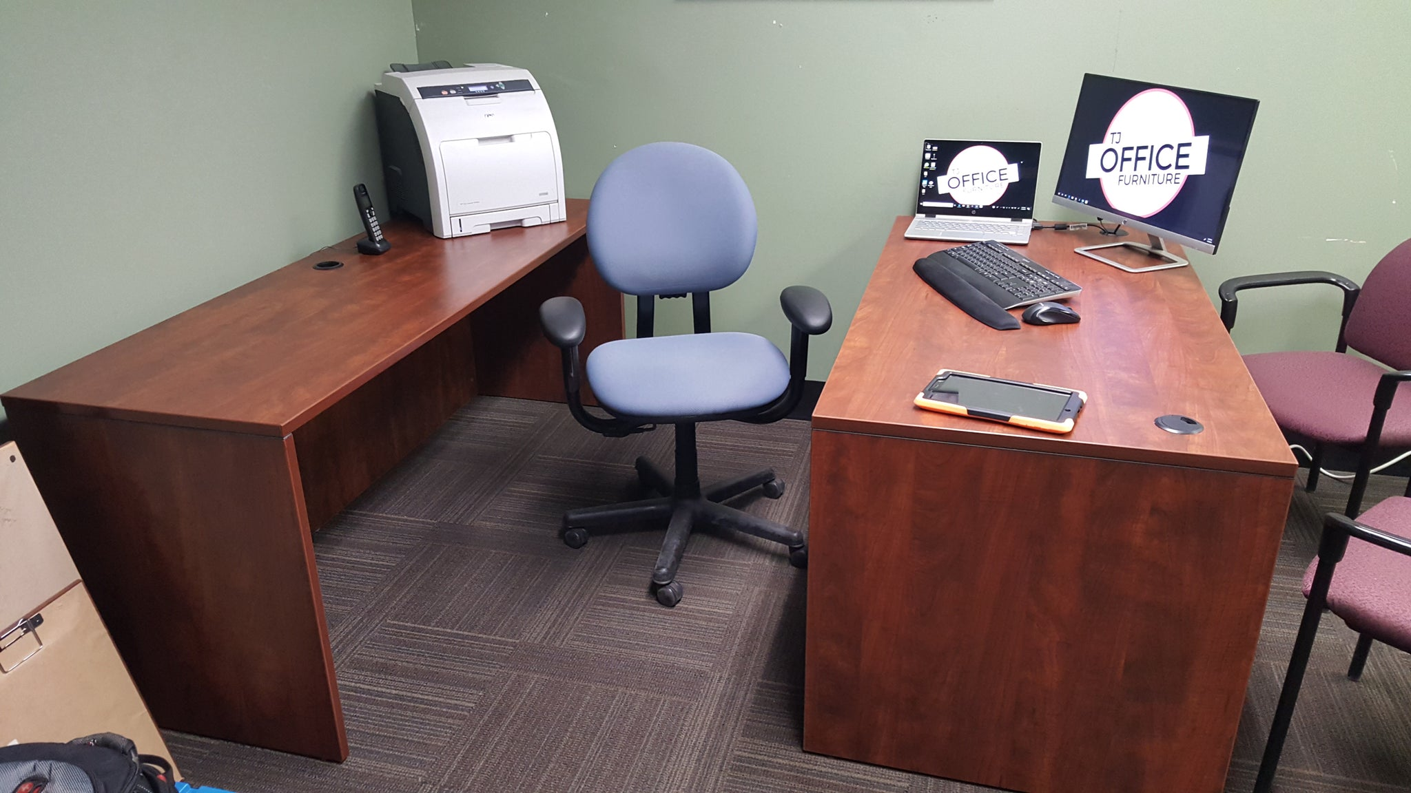 Cherrywood Desk Set Used Office Furniture In Mpls And St Paul Mn