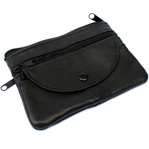 Leather Key Purse Zips Button