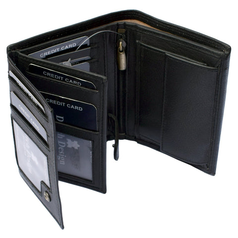 Leather Wallet Bifold 2 Flaps Vertical