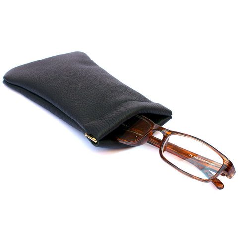 Leather Glasses Case with Snap Top