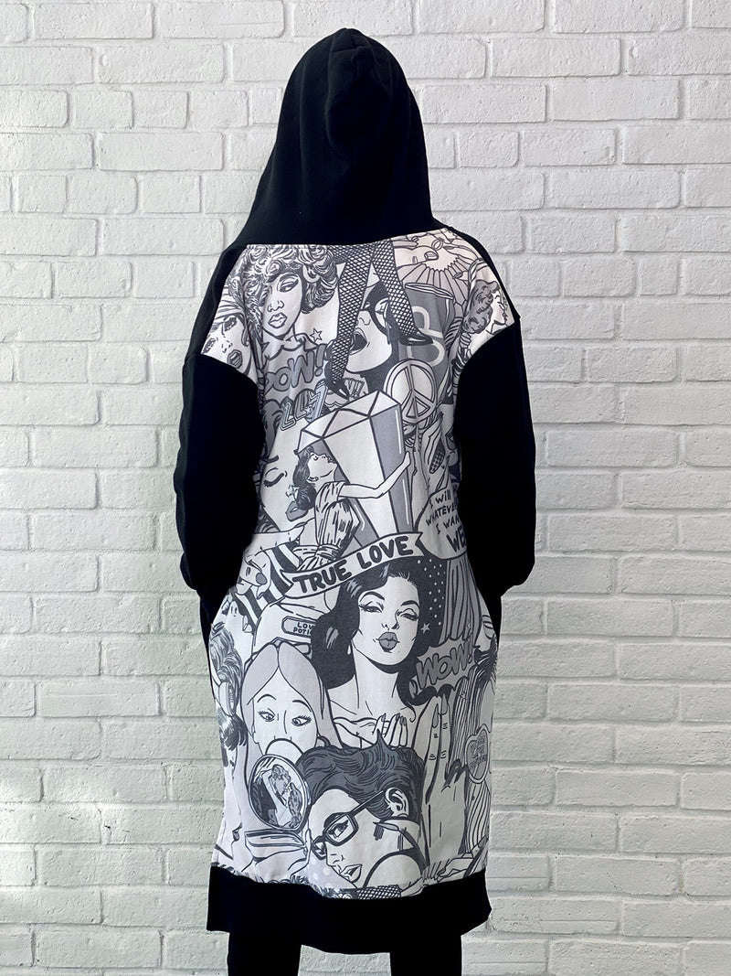 4000 Long Hoodie Pop Art Black