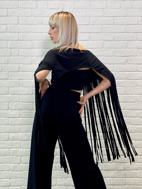 5138 Fringe Shrug Black