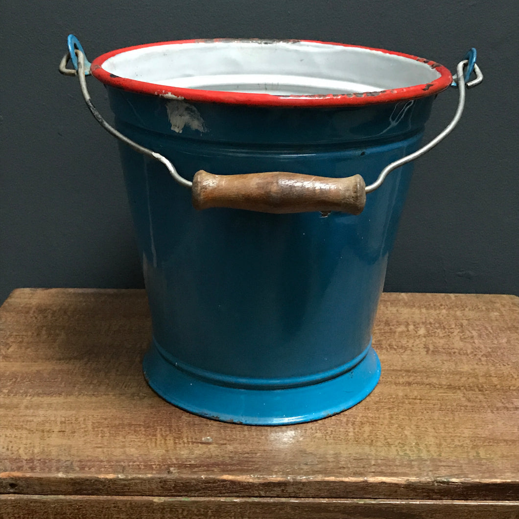 SOLD - Blue Enamel Bucket with red trim and wooden handle