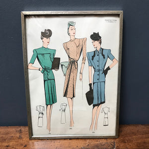 SOLD - Framed Sewing Pattern by Perfection Robes