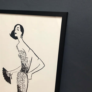 French Fashion Print of lady in evening dress, by Renee Marciel