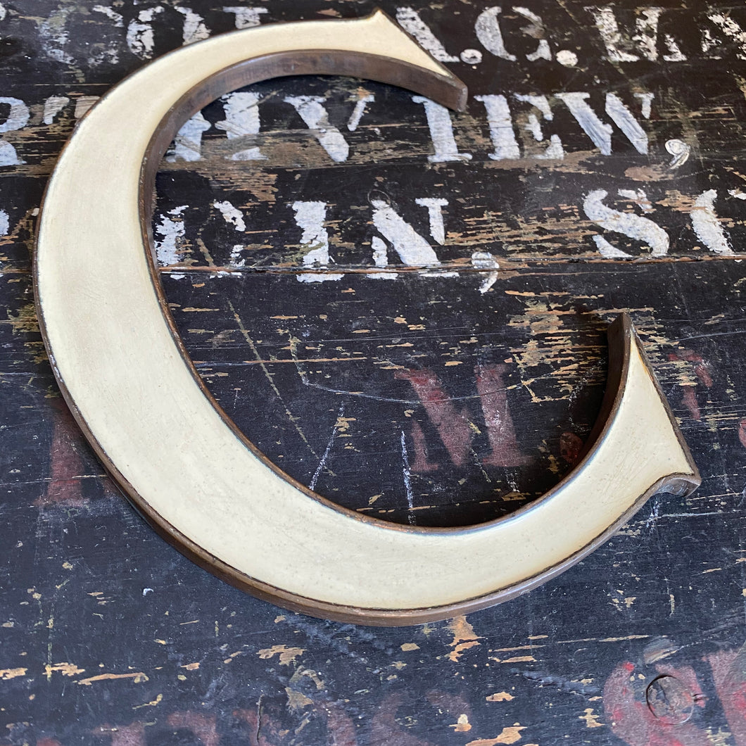 NEW - Original 1920's Brass & Enamel 'C' Letter