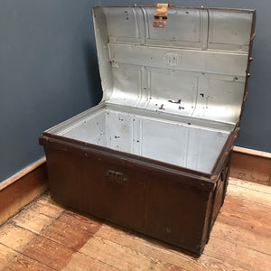 SOLD - Vintage Metal Steamer Trunk Chest