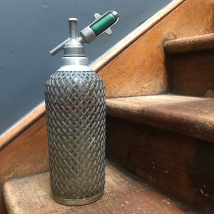 NEW - Vintage Sparklets Mesh Chrome & Glass Soda Syphon