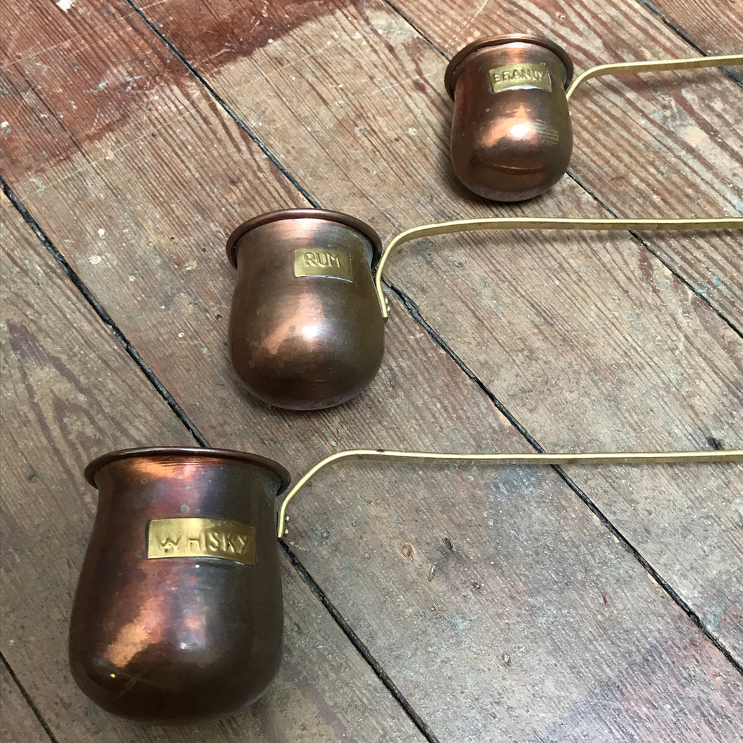 SOLD - Copper & Brass Whisky, Rum & Brandy Measure Set