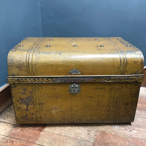 NEW - Vintage Metal Steamer Trunk Chest