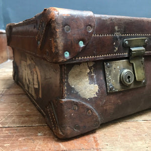NEW - Vintage Dark Brown Leather Suitcase