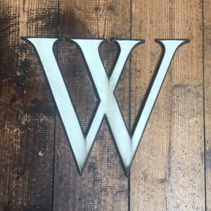 SOLD - Large Original 1920's Brass & Enamel 'W' Letter