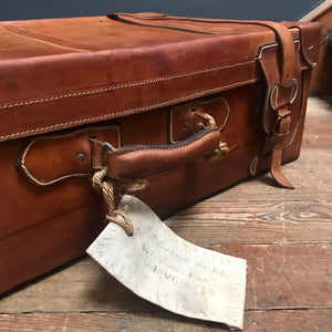 NEW - Vintage Leather Suitcase with leather straps