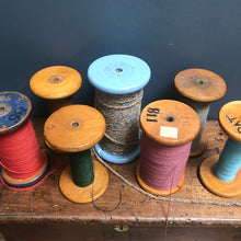 NEW - Large Vintage Wooden Bobbin Mill with Cotton