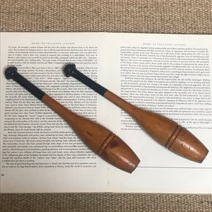SOLD - Vintage Pair of Wooden Exercise Clubs