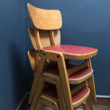 Vintage Industrial Stacking School Chair with vinyl seat pad