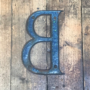 NEW - Large Original 1920's Brass & Enamel 'B' Letter
