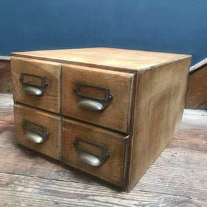 SOLD - Oak Bank of Four Index Drawers