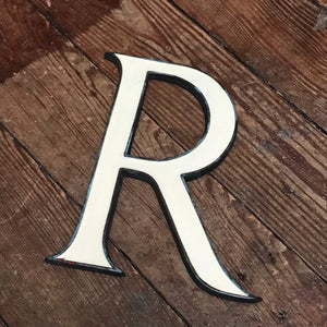 SOLD - Original 1920's Brass & Enamel 'R' Letter