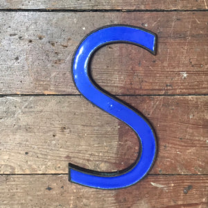 SOLD - Original 1920's Brass & Enamel 'S' Letter