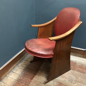 SOLD - Art Deco Oak & Leather Theatre/Cinema Seat, circa 1930