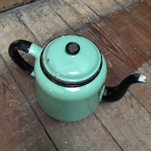 SOLD - Enamel Teapot - Green & Black