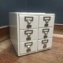 SOLD - Bank of Six Painted Index Drawers