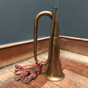 SOLD - Vintage Large Copper & Brass Military Bugle