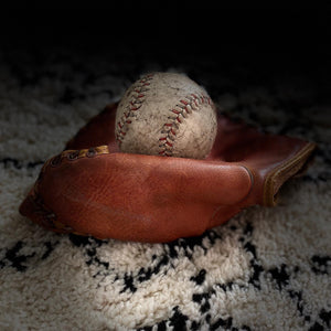 "NEW - Vintage Leather ""Spalding"" Baseball Glove & Ball"