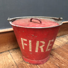 SOLD - Vintage Red Metal Fire Bucket