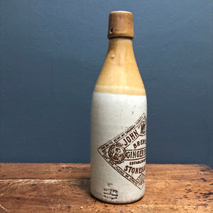 SOLD - Vintage John Milne Stonehaven Stoneware Ginger Beer Bottle