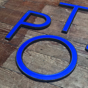 SOLD - Original 1920's Brass & Enamel 'P' Letter
