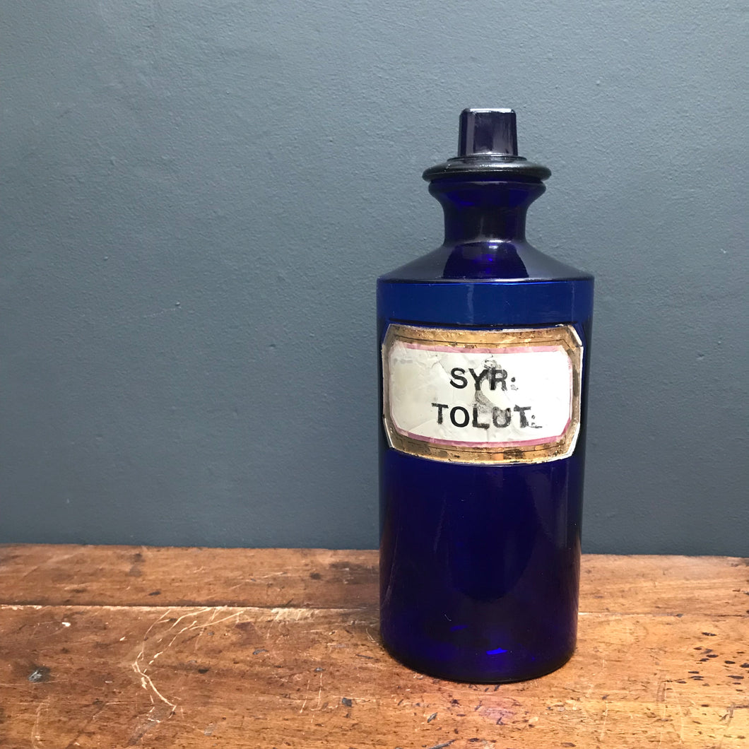 Vintage Rare Blue Glass Chemist/Apothecary Glass Bottle