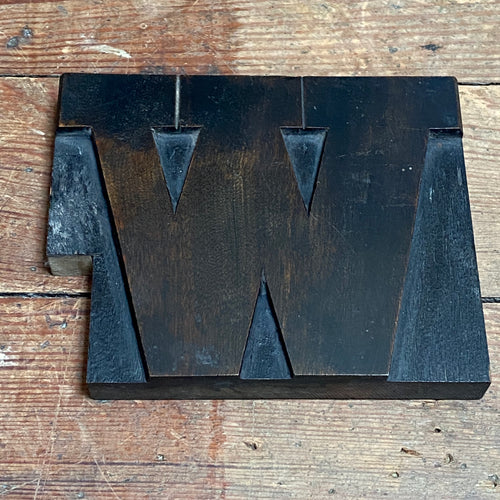 NEW - Vintage Wooden Print Letter 'W' (Large)