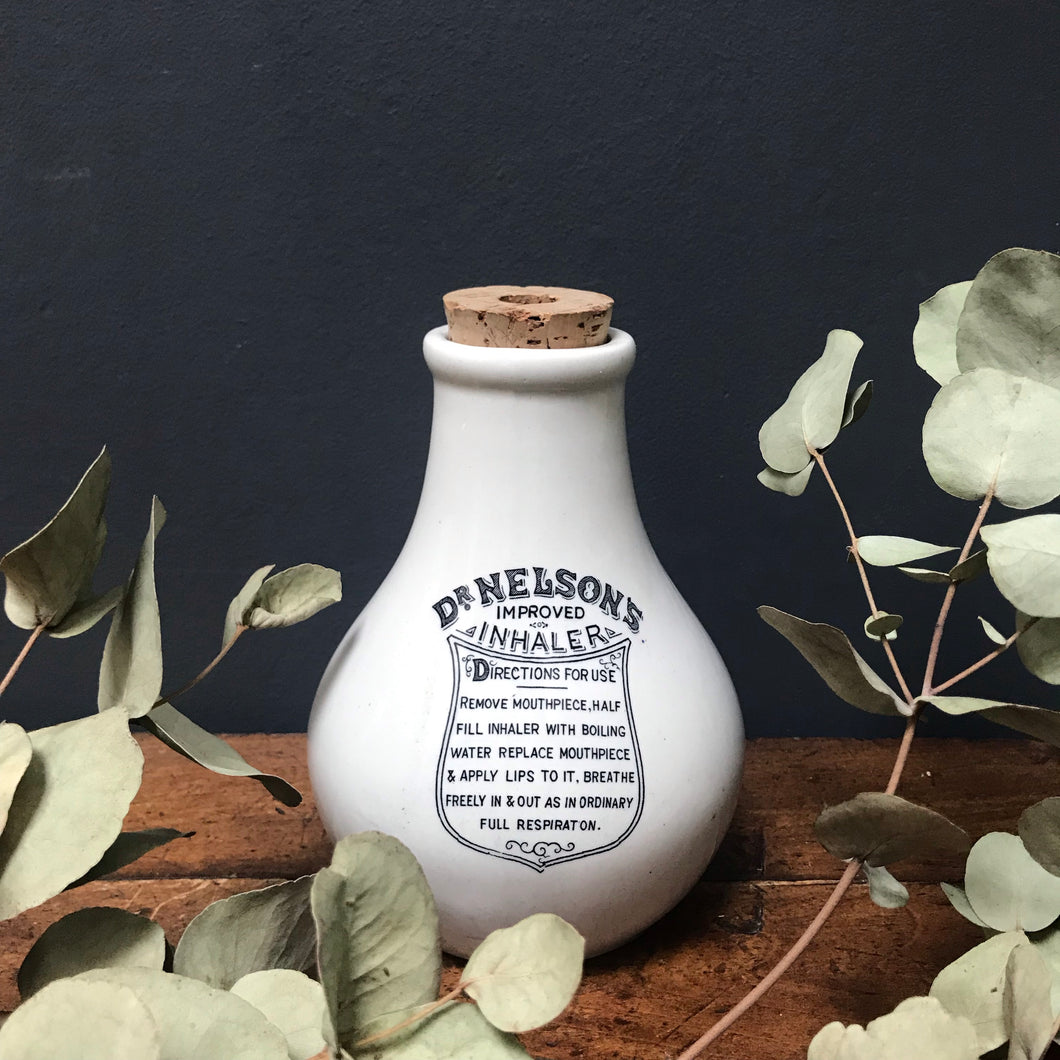 "NEW - Vintage ""Dr Nelson"" Ceramic Inhaler Chemist Bottle"
