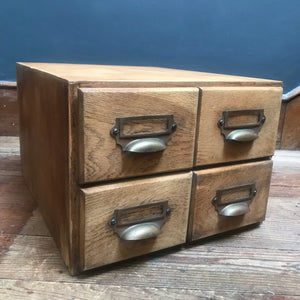 NEW - Oak Bank of Four Index Drawers