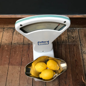 SOLD - White Enamel Pollard Weighing Scales