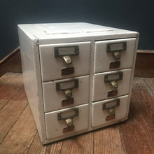 Bank of Six Painted Index Drawers