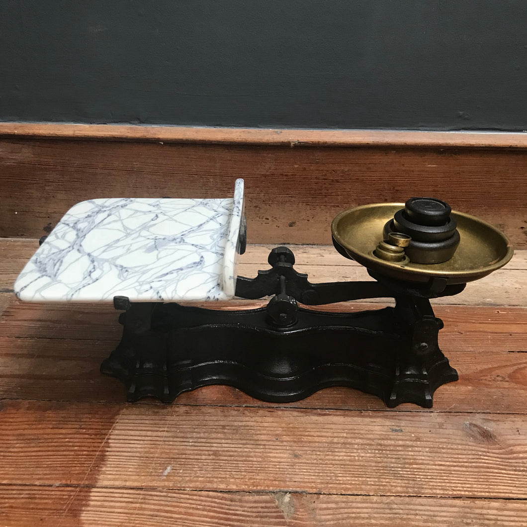 SOLD - Vintage Cast Iron, Ceramic & Brass Scales