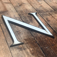 NEW - Large Original 1920's Brass & Enamel 'N' Letter