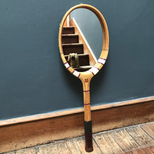 "SOLD - Vintage Tennis Racket Mirror - ""Rubber Shop, Aberdeen"""