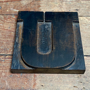 NEW - Vintage Wooden Print Letter 'U' (Large)