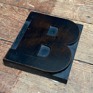 NEW - Vintage Wooden Print Letter 'B' (Large)