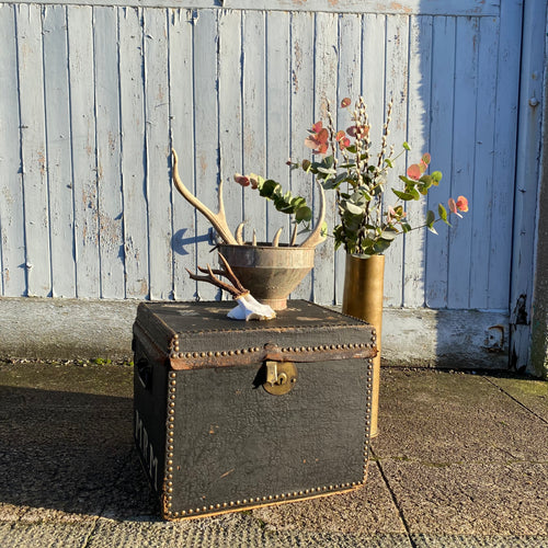 NEW - Antique Leather Trunk with brass studs