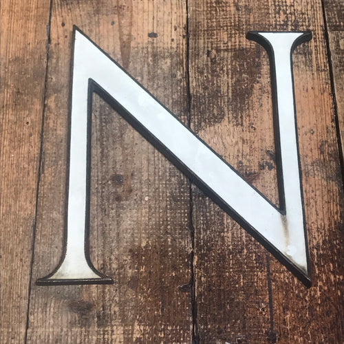 SOLD - Large Original 1920's Brass & Enamel 'N' Letter