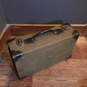 Vintage Canvas & Leather Suitcase photo 3 | PamPicks