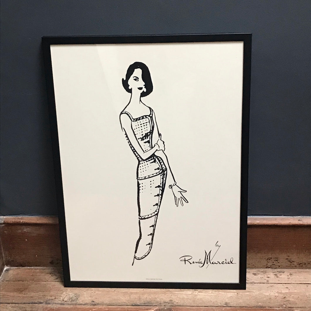 SOLD - French Fashion Print of lady in evening dress, by Renee Marciel
